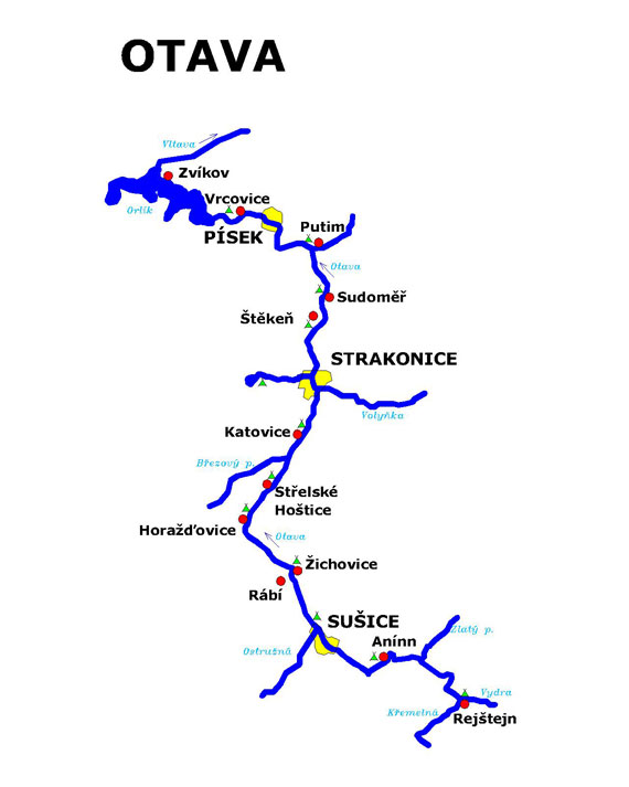Mapa Horniho Toku Vltavy S Jezy A Kempy Surfsport